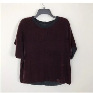 Rag & Bone red burgundy velvet dolman zip top M